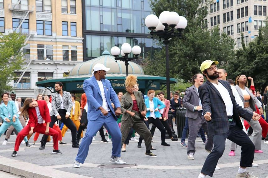 The choreography for the flash mob dance, performed at New York's Union Square, took about four hours.