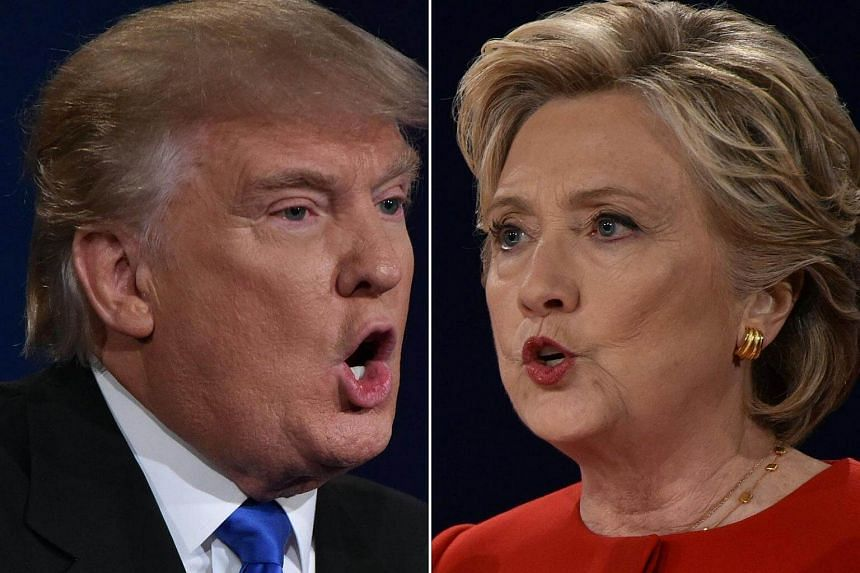 Republican nominee Donald Trump and Democratic nominee Hillary Clinton face off during the first presidential debate at Hofstra University in Hempstead, New York on Sept 26, 2016.