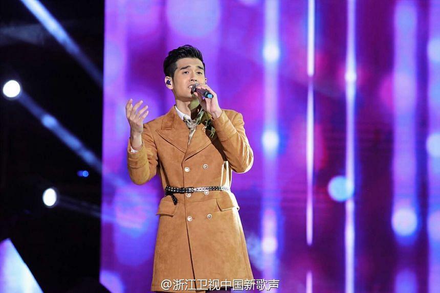 Singapore's Nathan Hartono performing at the Sing! China final held at Beijing's National Stadium on Oct 7, 2016.