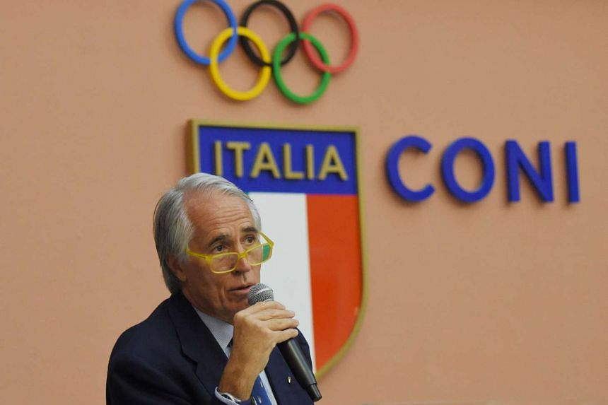 The president of the Italian Olympic Committee, Giovanni Malago, speaks during a press conference on Oct 11, 2016 in Rome.