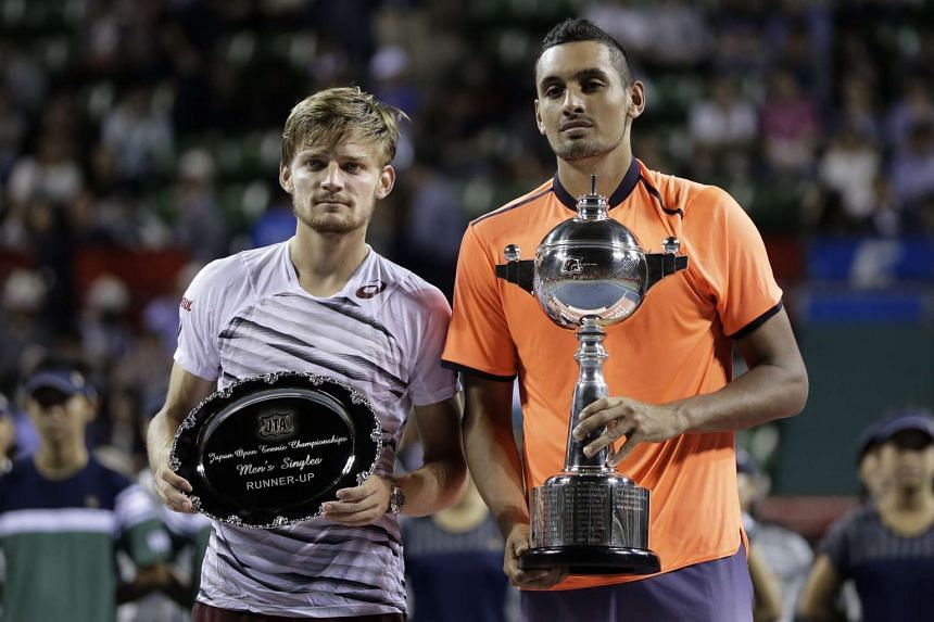 Winner Nick Kyrgios (right) and runner-up David Goffin at the Japan Open Tennis Championships in Tokyo on Oct 9, 2016.
