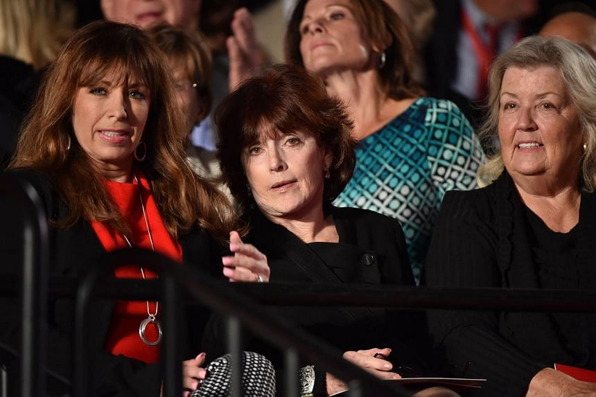 (From left) Paula Jones, Kathleen Willey and Juanita Broaddrick seated for the second presidential debate between Donald Trump and Hillary Clinton on Oct 9, 2016.
