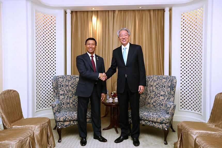 Deputy Prime Minister and Coordinating Minister for National Security Teo Chee Hean met Indonesian Coordinating Minister for Political, Legal and Security Affairs Wiranto on Monday (Oct 10).