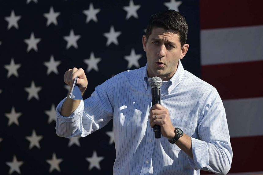 This file photo taken on Oct 8, 2016 shows House Speaker Paul Ryan speaking during the 1st Congressional District Republican Party of Wisconsin Fall Fest at the Walworth County Fairgrounds in Elkhorn, Wisconsin.