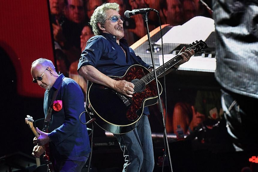 Pete Townshend (left) and Roger Daltrey of The Who performed on the third day of the Desert Trip music festival.