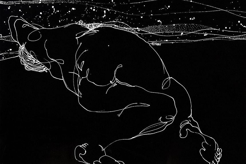 Moonshine III (2007), white ink on coated paper, by artist Loh Khee Yew.