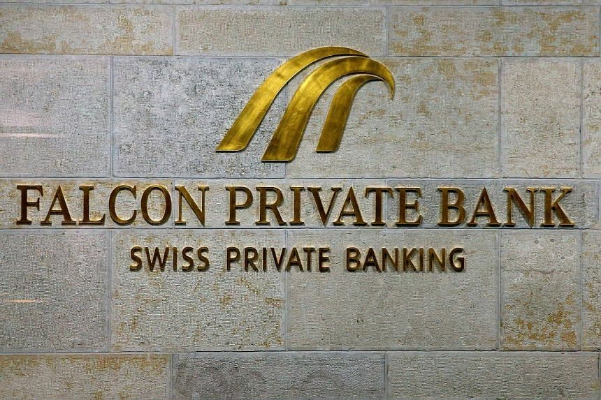 The logo of Swiss Falcon Private Bank is seen at its headquarters in Zurich.