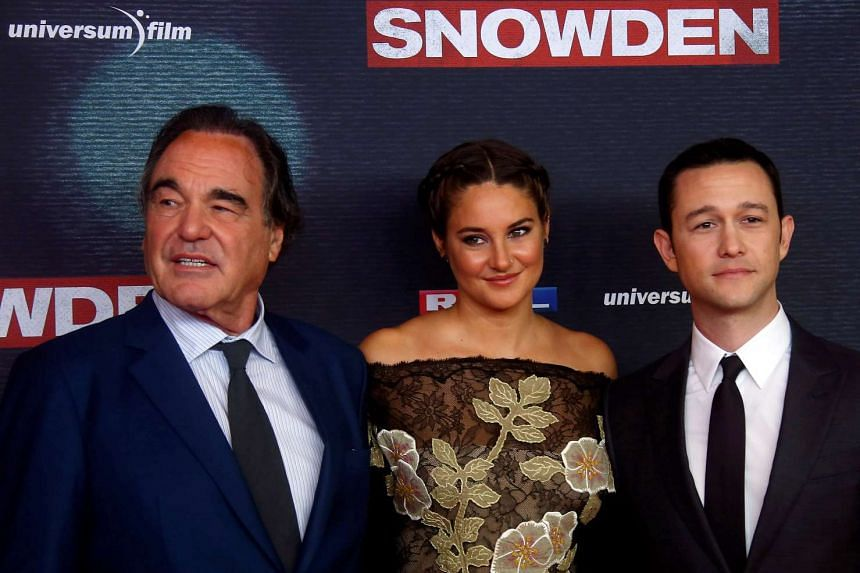 Director Oliver Stone (left), actress Shailene Woodley and actor Joseph Gordon-Levitt attend the European premiere of  Snowden in Munich, Germany on September 19.