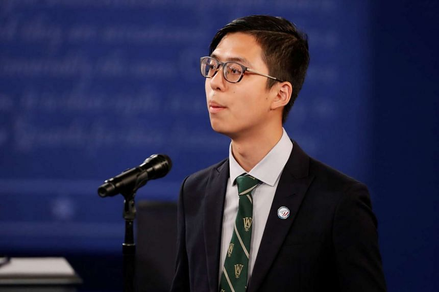 Kenneth Sng delivers opening remarks at the start of the second US presidential debate on Oct 9, 2016.