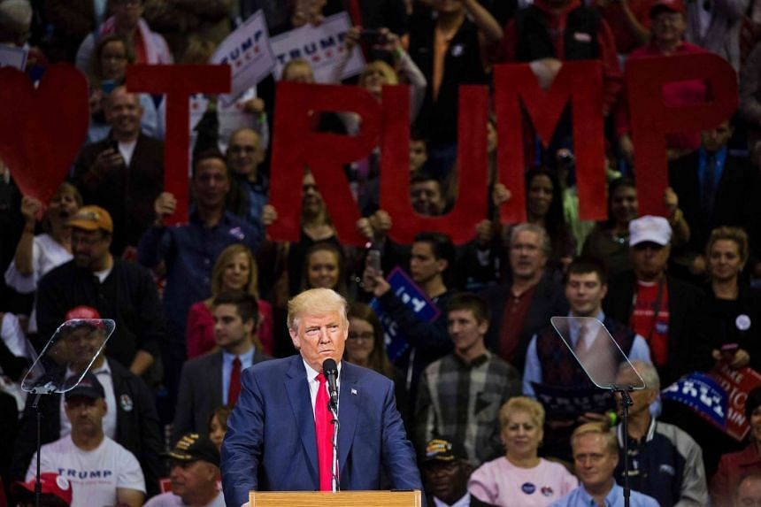 Republican presidential nominee Donald Trump speaks during a rally at Mohegan Sun Arena in Wilkes-Barre, Pennsylvania on Oct 10, 2016.