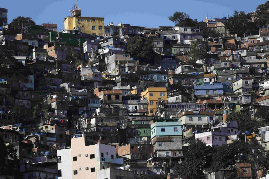 "A general view of the Rocinha favela, one of the slums that was included in the ""police pacification unit"" programme that began in 2008, in Rio de Janeiro, Brazil, on July 24, 2016."