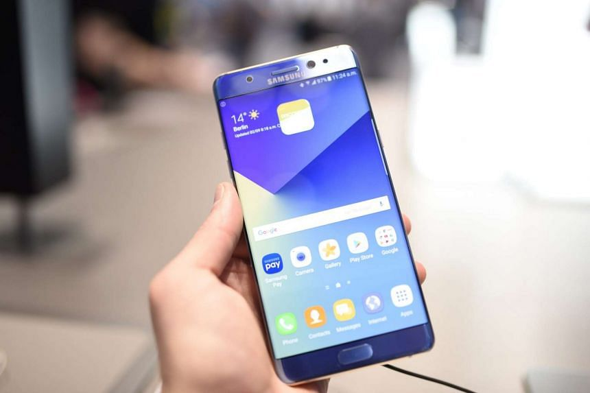 A Samsung Galaxy Note 7 being held at the IFA trade fair in Berlin, Germany.
