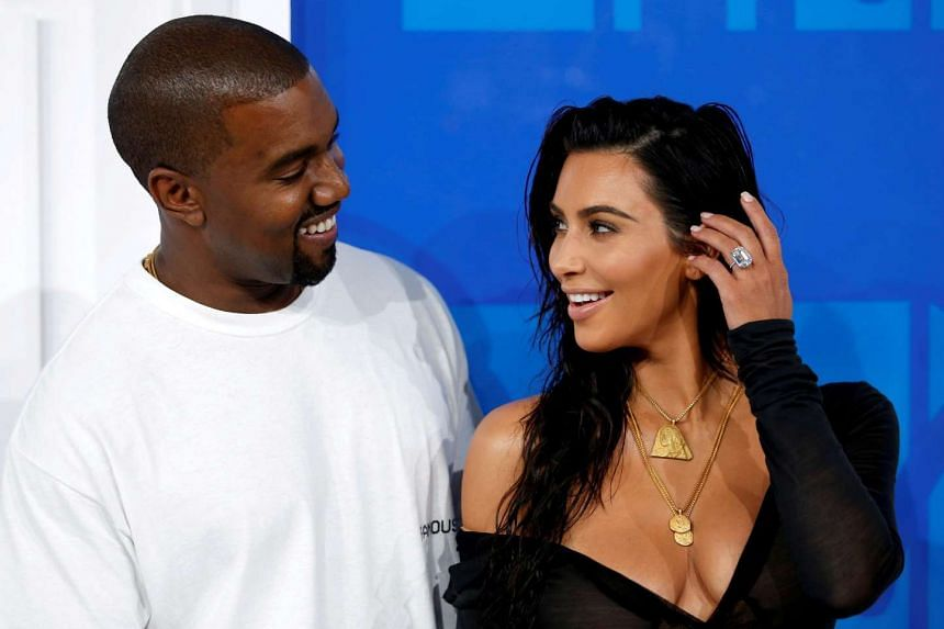 Kim Kardashian and Kanye West arrive at the 2016 MTV Video Music Awards in New York, US on Aug 28, 2016.