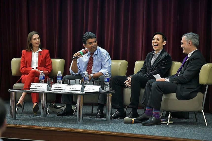 At the Singapore Press Club panel yesterday to discuss the US presidential race were (from left) Ms Datta of Republicans Overseas Singapore, moderator and SPH deputy CEO Mr Daniel, Prof Lim of NUS and Mr Okun, who sits on the board of the American Ch