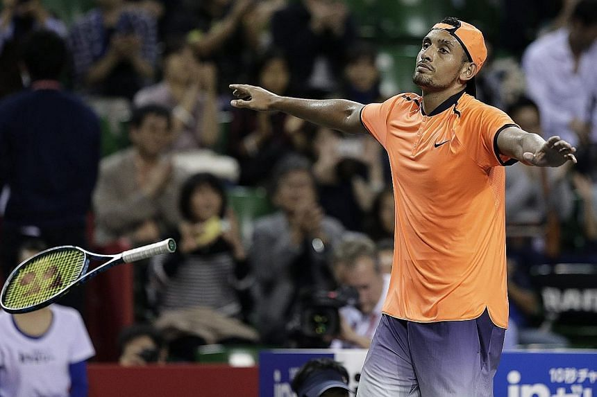 Nick Kyrgios celebrates after defeating David Goffin in the Japan Open final. Despite their exertions on Sunday, both players won their opening matches at the Shanghai Masters yesterday. Australian Kyrgios defeated Sam Querrey while Goffin took out J