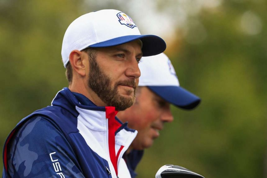 Dustin Johnson (left) during practice for the Ryder Cup 2016 on Sept 28, 2016.
