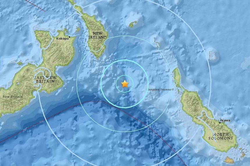 An earthquake of magnitude 5.8 struck 182km south-east of Rabaul in the Pacific nation of Papua New Guinea.