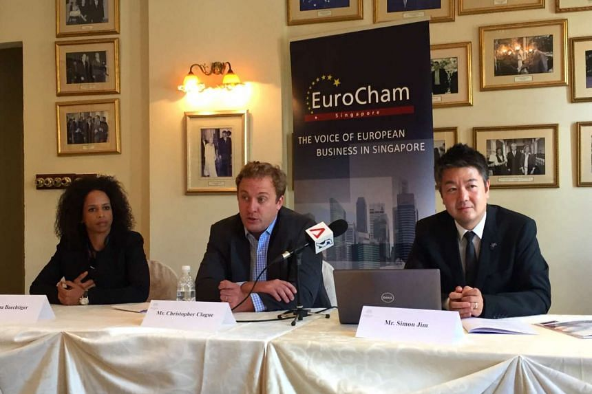 (From left) Ms Lina Baechtiger, executive director of the European Chamber of Commerce Singapore (EuroCham), Mr Christopher Clague of the Economic Intelligence Unit and Mr Simon Jim, chairman of the Intellectual Property Rights Committee of EuroCham.