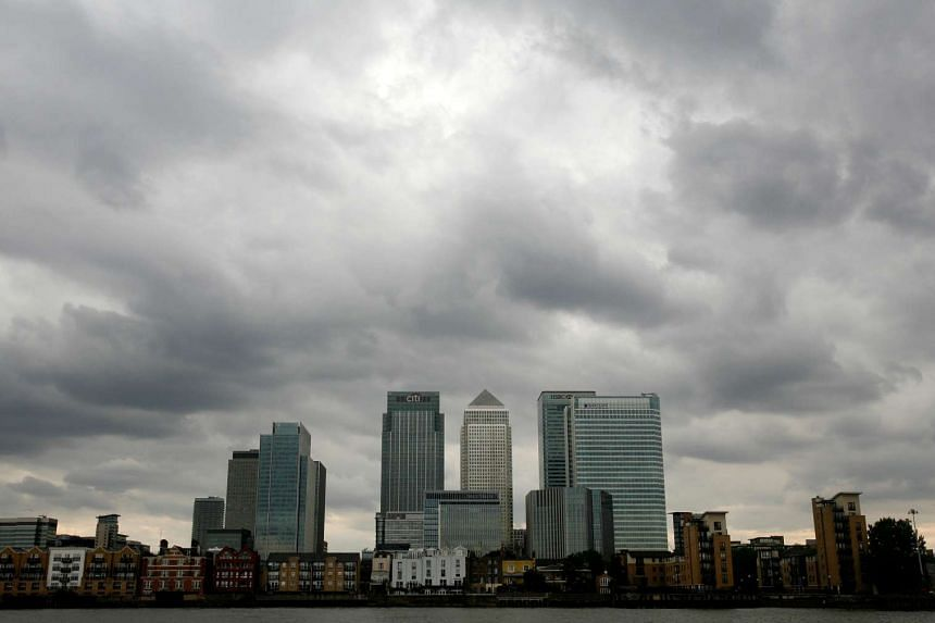 The Canary Wharf financial district in London, Britain.