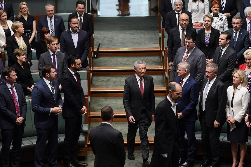 PM Lee arrives for his speech to the Australian Parliament at Canberra's Parliament House.
