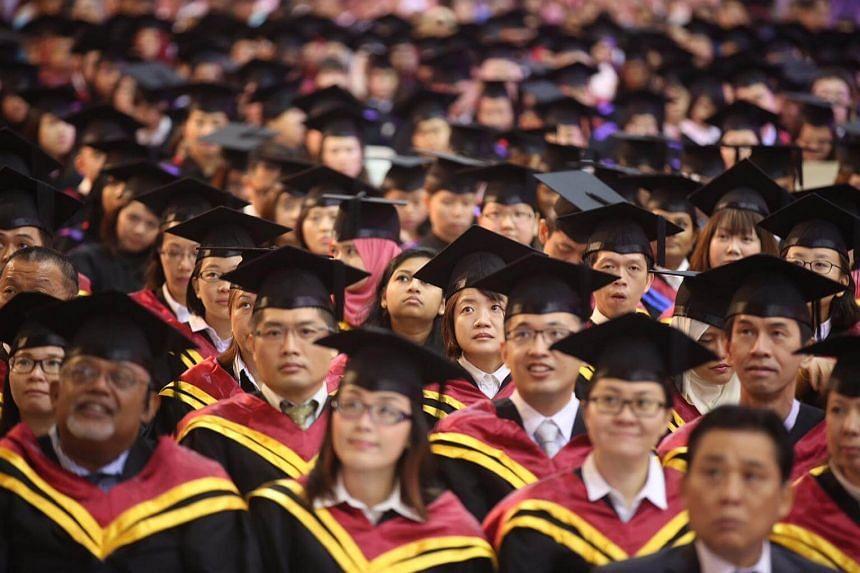 UniSIM graduates at the university's convocation ceremony on Oct 12, 2016.