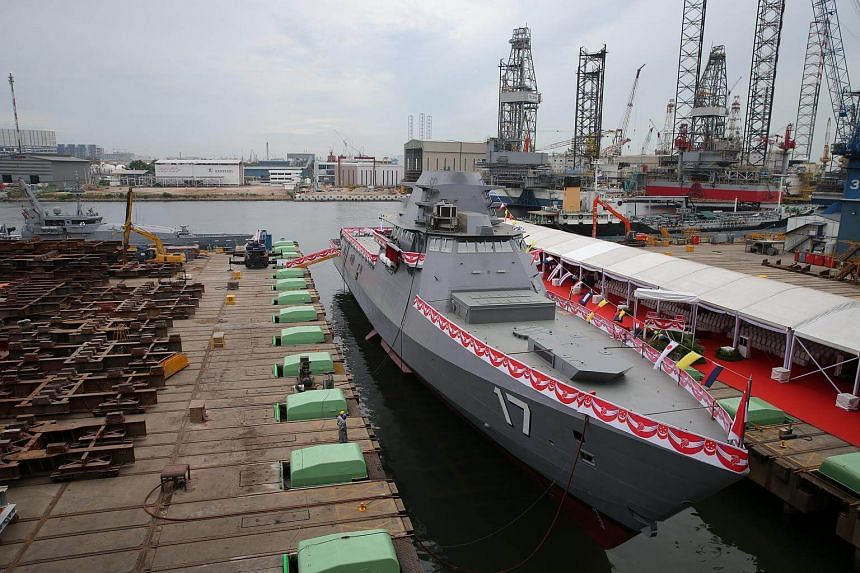 Senior Minister of State for Defence Mr Ong Ye Kung officiated the launching ceremony of the Republic of Singapore Navy's third Littoral Mission Vessel, LMV, Unity at the Singapore Technologies Marine's Benoi Yard.