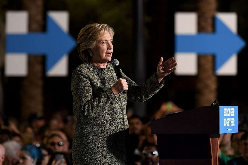 Democratic presidential nominee Hillary Clinton speaks during a campaign rally on Oct 12, 2016 in Las Vegas, Nevada.