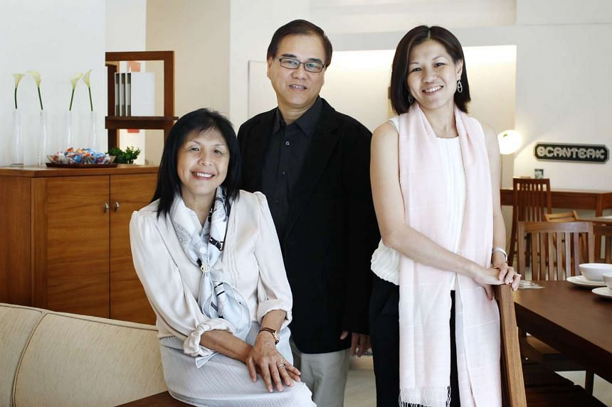 Jamie Lim (right), regional marketing director of Scanteak, which her parents Lim Pok Chin (centre), managing director, and Catherine Foo, executive director founded in 1974.