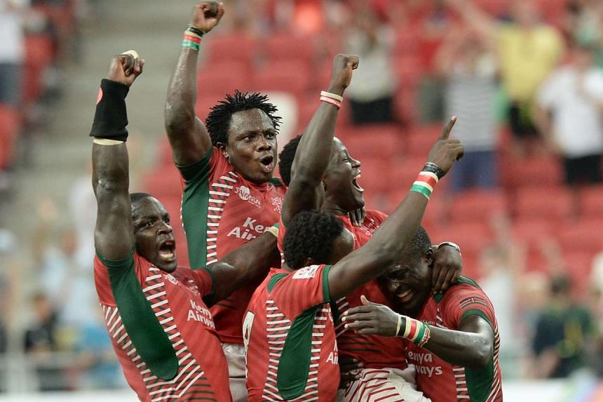 Kenya celebrates at the final whistle after beating Fiji 30-7 in the final of the Singapore Rugby Sevens at the National Stadium on April 17, 2016.