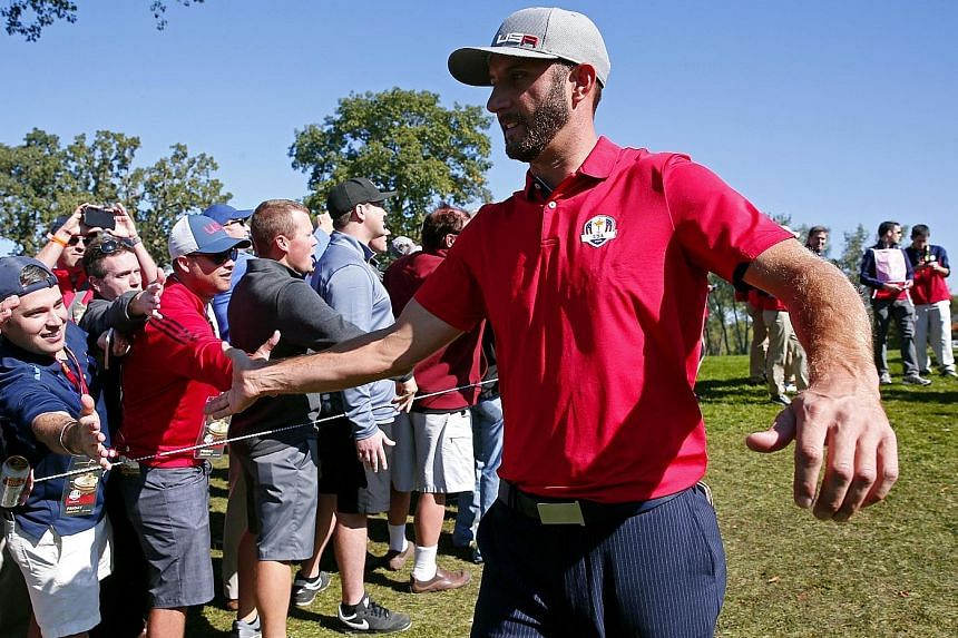 Dustin Johnson capping off a great season at the Ryder Cup, contributing two points in the United States' 17-11 thumping of Europe.