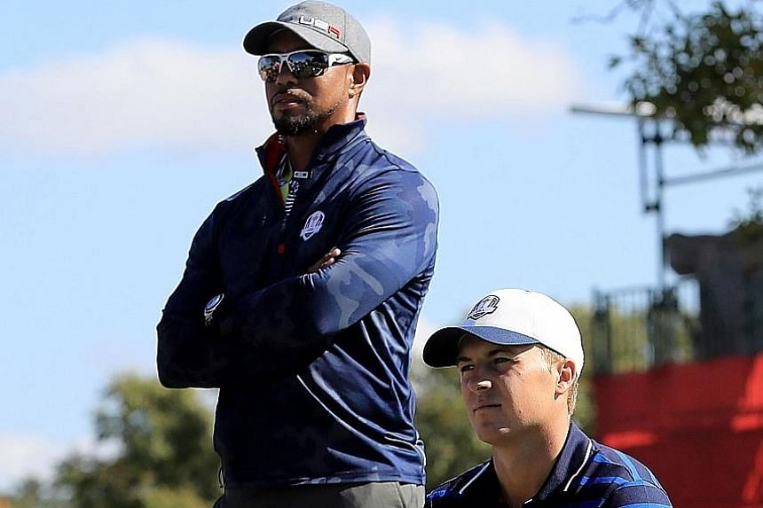 US Ryder Cup vice-captain Tiger Woods and Jordan Spieth at a practice session prior to the biennial tournament at Hazeltine National Golf Club.