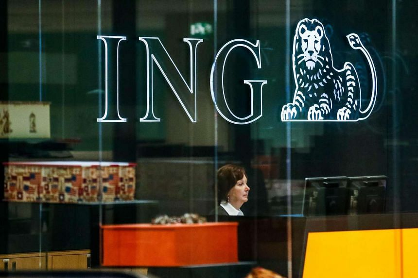 A general view of ING Bank logo on the bank's headquarters in Brussels.