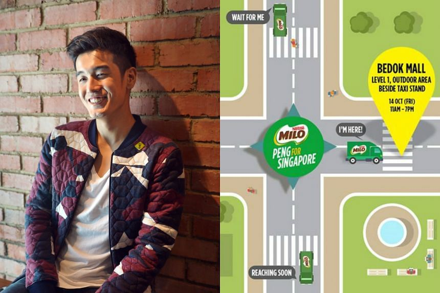 A Milo van will be dispatched to the Civic Plaza at Bugis+ from noon to 8pm where Nathan Hartono will greet fans from 3pm to 5pm.