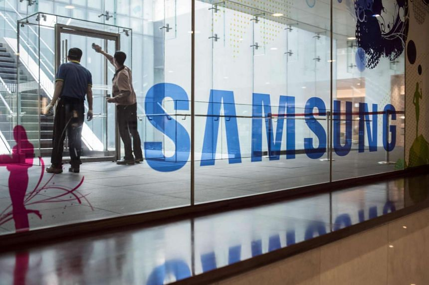 A Samsung logo is displayed in a mall beneath the company's headquarters in the Gangnam district of Seoul.