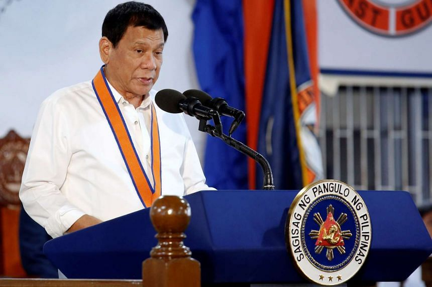 Philippine President Rodrigo Duterte speaks during the ceremony marking the anniversary of the Philippines Coast Guard in Manila on Oct 12, 2016.