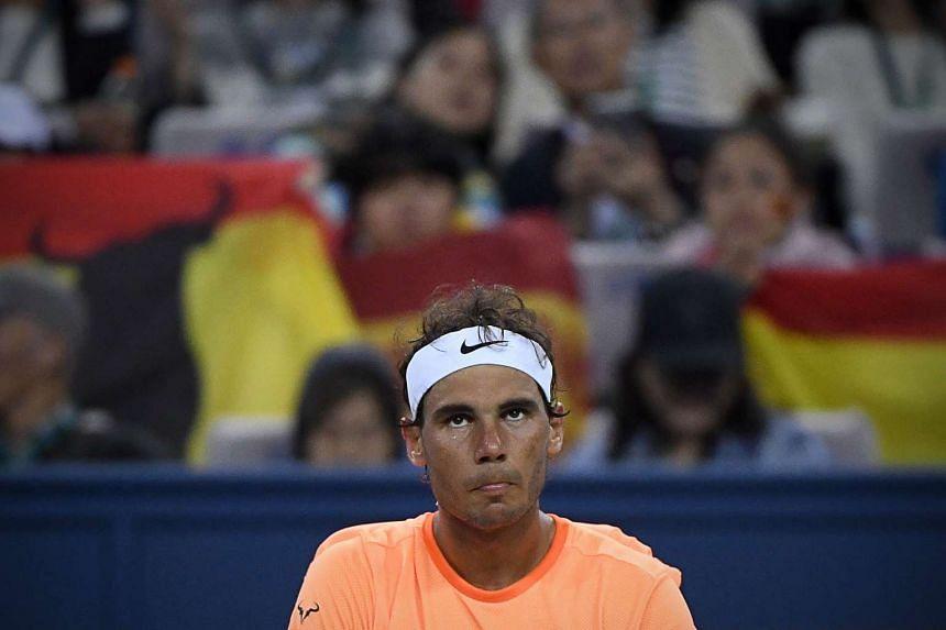 Rafael Nadal of Spain looks on during the men's singles match against Viktor Troicki of Serbia.