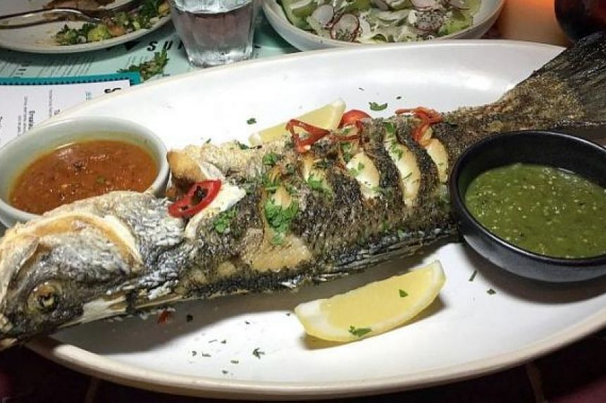 Pescado Asada Con Chili Rojo Y Perejil ($46) is a whole sea bass barbecued and served with red and green salsa. The simplicity helps to centre the focus on ingredients. The locally sourced fish is fresh and the sweet flesh was all that was needed.