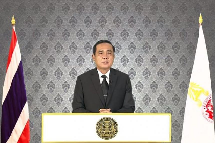 Prime Minister of Thailand Prayut Chan-o-cha addresses the nation after the death of King Bhumibol was announced.