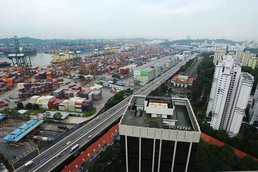 An aerial view of PSA International and its containers at Tanjong Pagar Terminal.