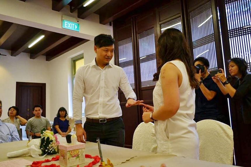 Mr Mah Chun How and Ms Kang Say See getting married at Yueh Hai Ching Temple in Raffles Place in on Sept 15.