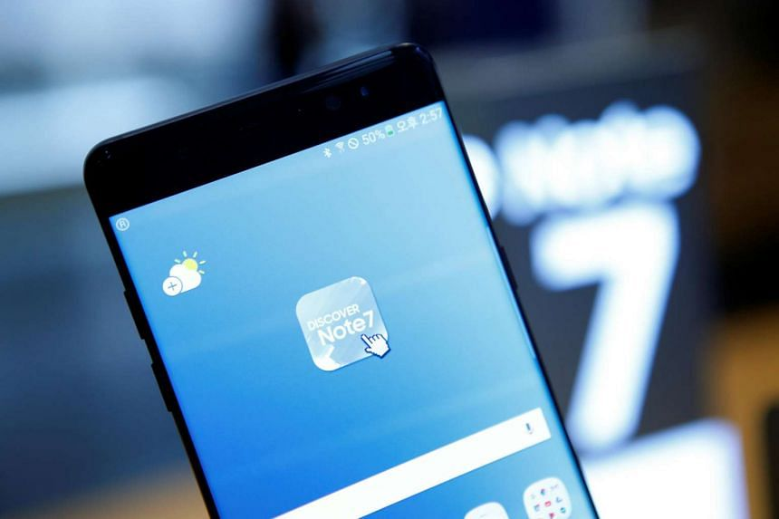 A Samsung Electronics' Galaxy Note7 is seen at the company's headquarters in Seoul.