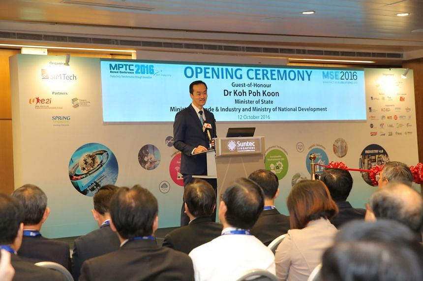 Dr Koh at the opening ceremony of the Manufacturing Solutions Expo. He says that if companies adopt an open and forward-looking mindset to adapt and embrace change, they will be better positioned to seize new growth opportunities.
