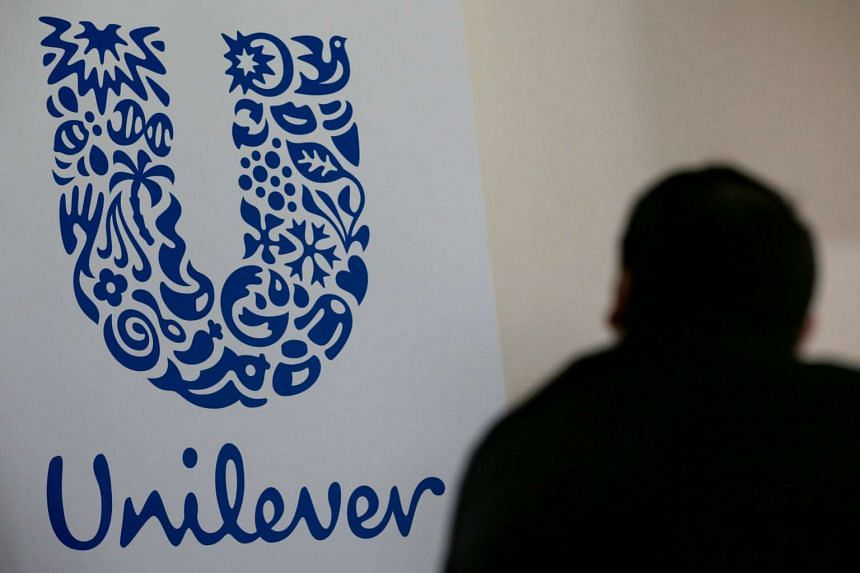 The logo of the Unilever group is seen at the Miko factory in Saint-Dizier, France.