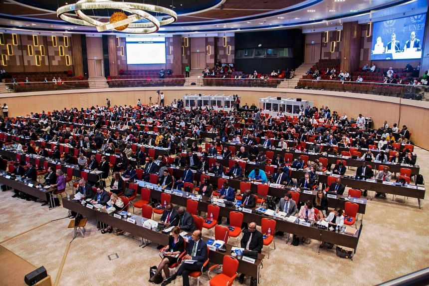 Delegates attend the official opening of the 28th meeting of the Parties to the Montreal Protocol in Kigali on Oct 13, 2016.