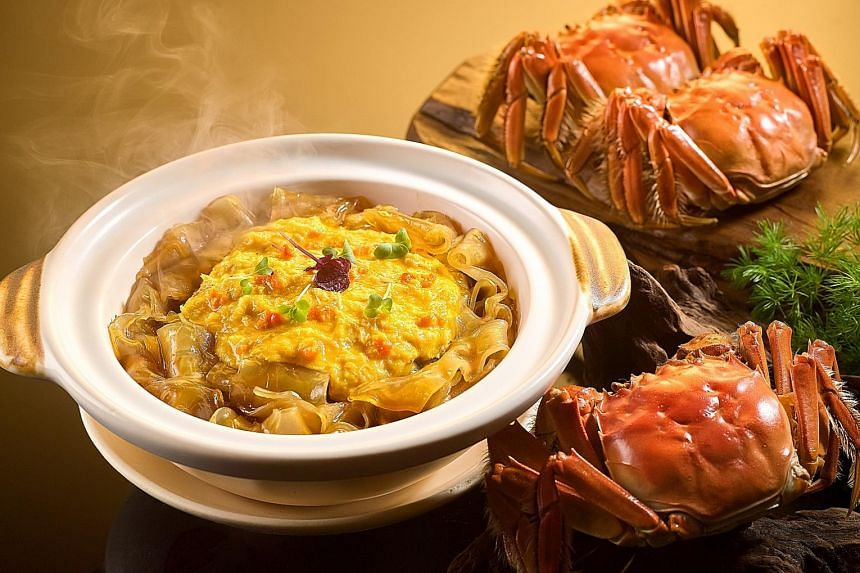Deepavali desserts (above) at Tiffin Room and Stewed Crystal Hor Fun with Hairy Crabmeat and Crab Roe (left) at Li Bai.