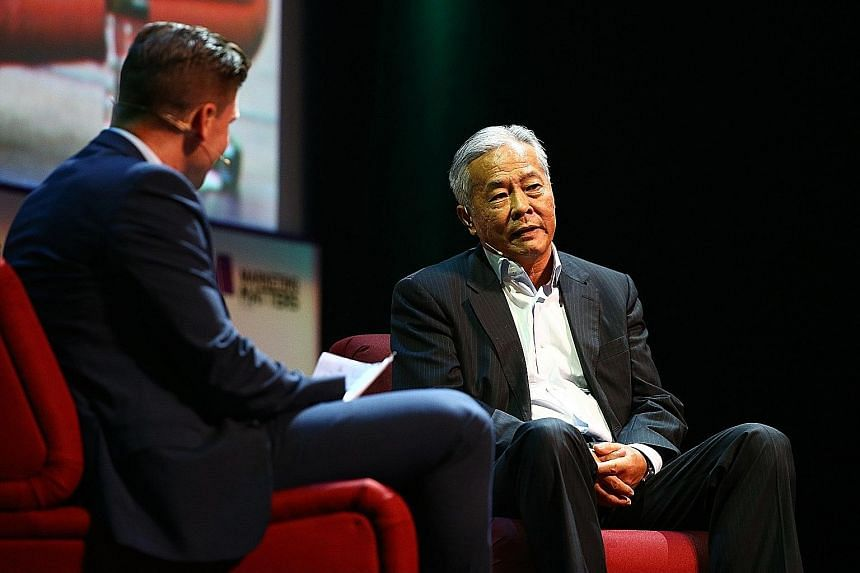 LeSports vice-chairman Ma Guoli (right) speaking at the All That Matters conference at Marina Bay Sands last month. He believes the potential for the sports market in China to grow is huge given that the country has a population of 1.37 billion.