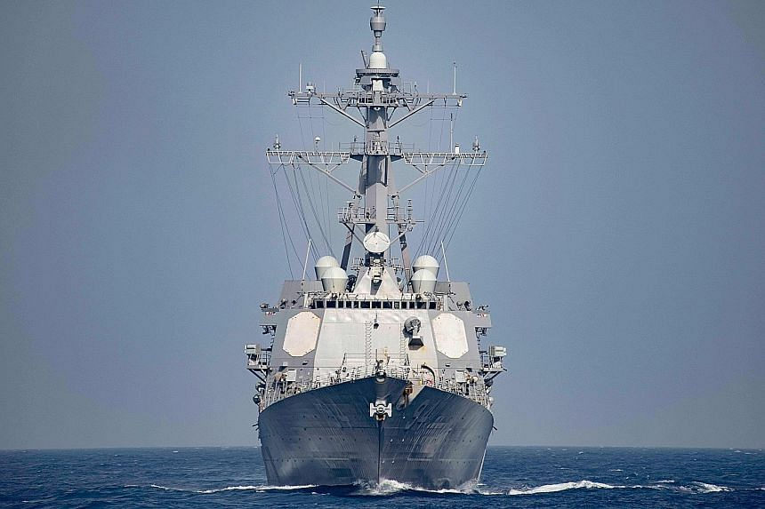 The USS Nitze, which yesterday launched Tomahawk cruise missiles on three radar installations in areas controlled by Yemen's Houthi rebels. The Pentagon said initial assessments showed that the sites were destroyed.