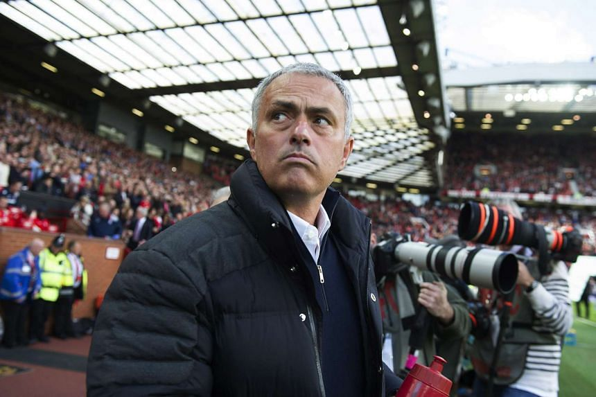 Mourinho reacts during a Premier League match between Manchester United and Stoke City on Oct 2, 2016.