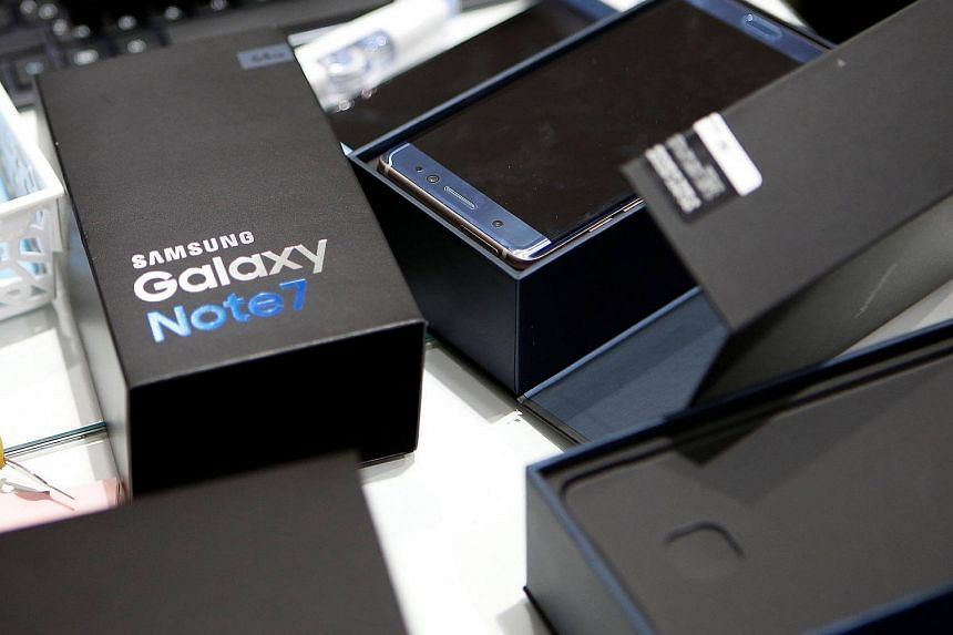 An exchanged Samsung Electronics' Galaxy Note7 is seen at company's headquarters in Seoul.