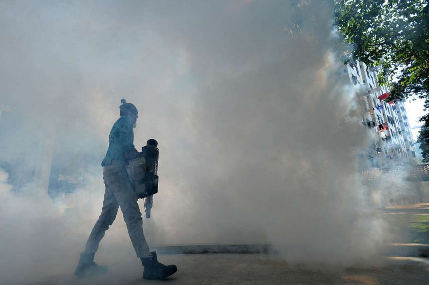 Fogging being carried out in Sims Drive last month. Singapore has been undertaking vector-control programmes for years to reduce the risk of dengue, which is spread by the same species of mosquito – the Aedes aegypti – that transmits Zika.